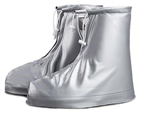 enüberschuhe Wasserdicht Schuhe Abdeckung Stiefel Flache Regen Überschuhe Regenkombi Schuhüberzieher Rutschfestem für Damen Mädchen Herren Jungen (Silber-kinder Stiefel)