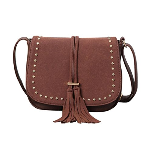 Longra Borsa a tracolla inclinata rivetta retrò donna nubuck in pelle inclinata Caffè