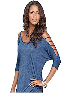 Butterme Mujer Camiseta Casual 3/4 Mangas Hombros Verano Camisas De Hombro Frío Blusas Elegant Tank Top(Azul,L)