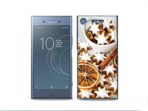 etuo Sony Xperia XZ1 Handyhülle Schutzhülle Etui Hülle Case Cover Tasche für Handy Foto Case - Lebkuchen