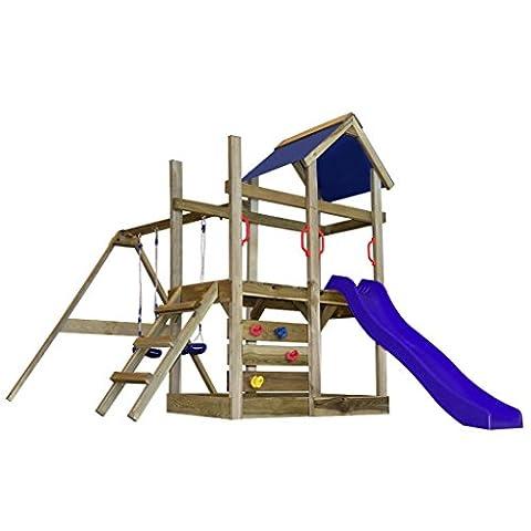 vidaXL Wooden Playhouse Set with Ladder Slide Swing Child Kid Outdoor Garden Playground