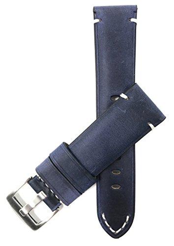 Bandini Extra Lang (XL) 24mm Blau Herren Leder Uhrenarmband, mit Naht, Vintage-Stil