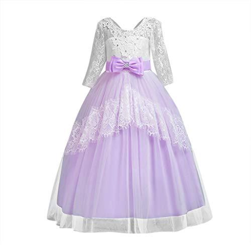 squarex Baby Mädchen Neun-Punkt-Hülsen-Rock-Bogen-Kleid-Spitze-Seiten-Kleid-formales Kleid-Sommer-beiläufiges Kleid-Ineinander greifen-Rock Neckholder Formale