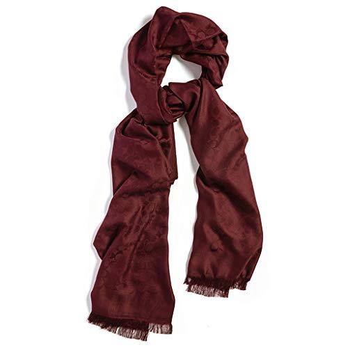 DING Herbst und Winter Dicke Wolle Schal Schal Damen dunkle Blumenmuster (Farbe : Rotwein)