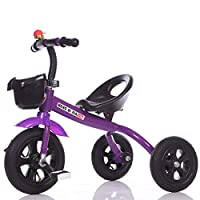 MC-F Kids Tricycle Adjustable Seat, Children 3 Wheel Pedal Bike, with Rubber Inflatable Tyres, for 1-6 Years Kids and Toddlers,Purple
