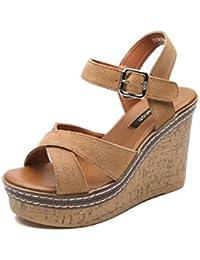 Sandalias femeninas del verano de 11 cm sandalias coreanas salvajes cómodas de las sandalias de tacón alto de las mujeres ( Color : Marrón , Tamaño : EU36/UK4/CN36 )