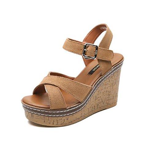 Donne sandali Sandali di estate delle donne di 11 cm Sandali selvaggi selvatici selvaggi comodi delle donne sandali coreani di modo Confortevole ( Colore : Marrone , dimensioni : EU36/UK3.5/CN35 ) Marrone
