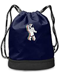 Astronauts and Radios Large Drawstring Sport Backpack Sack Bag Sackpack