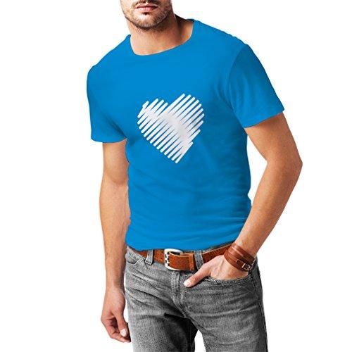 N4014 T-shirt da uomo Stylish Heart St. Valentines Azzulo Bianco