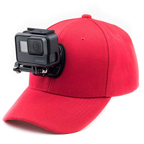 Digicharge Baseballkappe mit Action-Kamera-Halterung, kompatibel mit GoPro Hero Akaso Crosstour Campark Fitfort Garmin VIRB Apeman Sony Camkong Motorola Victure Kitvision Nikon Cam, rot
