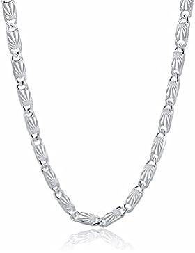 925 Sterling Silber Gliederkette Allrounder Unisex Blume Wellen Halskette Collier
