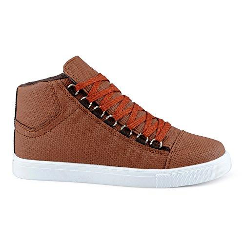 FiveSix Herren Sportschuhe High Top Sneaker Muster Basketballschuhe Freizeitschuhe Schuhe Braun