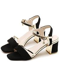 Sommer Sandalen für Frauen Offenen Zeh Dick Unten Gummizug Wild Flachbild Römische Schuhe, Grün, 38