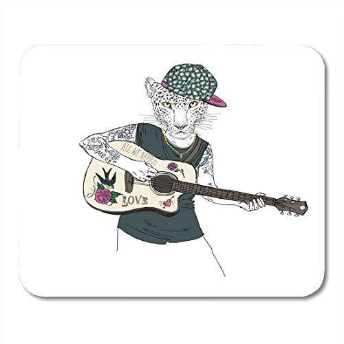 Luancrop Mauspad Musik Leopard Junge spielt Gitarre pelzigen Hipster Tiere Sommer Mousepad für Notebooks, Desktop-Computer Mauspads, Bürobedarf -