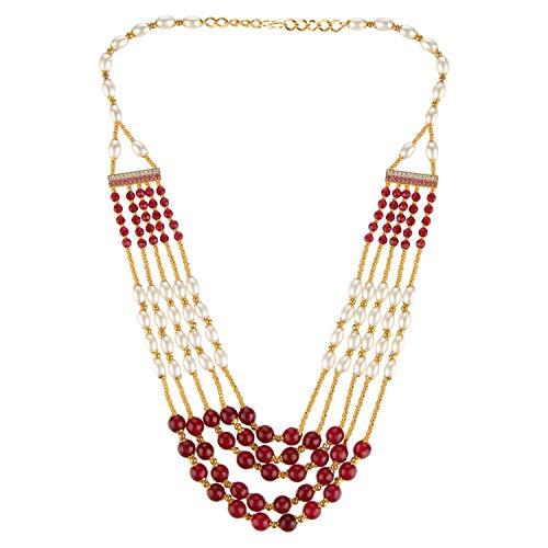 Efulgenz Indische mehrschichtige Bollywood künstliche Rubinperlen Perlen Hochzeit -
