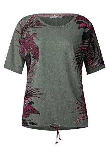 CECIL Damen Shirt mit Tropical Print palm green (grün)