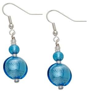 Valentina Genuine Murano Glass Aqua Drop silver Plated Earrings of Length 5 cm