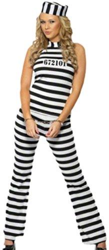 Fancy Ole - Damen Frauen Sträfling Gefangenen Kostüm mit Hut, M, (Des Kostüm Gefangene Krieges)