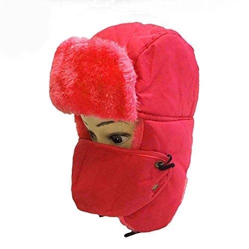 sex Winter Trapper Trooper Hut Unisex Klassischer Winter Bomber Hüte Jagd Hut Pilot Hut Warmer Schnee Ski Cap mit russischer Ohrenklappe Kinnriemen und Winddichte Maske, Red ()