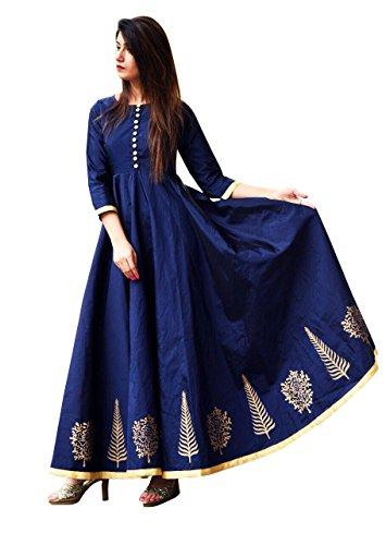 Vaankosh Fashion Women's Cotton Silk Anarkali Kurti (navy)