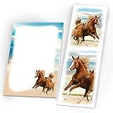 JuNa-Experten 10 Notizblöcke + 10 Lesezeichen Mitgebsel Zwei Pferde Gastgeschenk beim Geburtstag Kindergeburtstag Hochzeit Taufe Mädchen Pferd