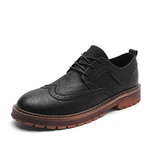Hilotu Herrenbrogues Oxford Lässige Oxford-Schnürschuhe aus Leder Wingtip Lederschuhe für Geschäftsreisende (Color : Schwarz, Größe : 41 EU) Schwarz Wingtip