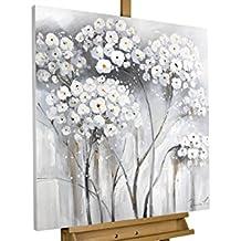 KunstLoft® cuadro acrílico 'Blanca inocencia' 80x80cm | Original pintura XXL pintado a mano en lienzo | Flores blancas naturaleza paisaje | Mural acrílico de arte moderno en una pieza con marco