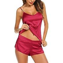 Swiftt Pijama Corto Mujer Camisón Seda Cuello V Ropa De Dormir 2 Piezas Pijama Saten Tirantes