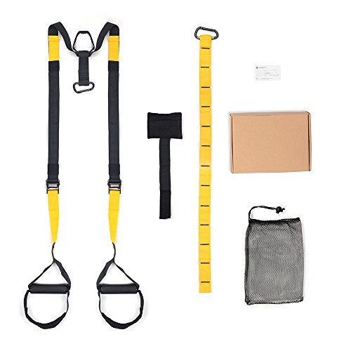 multifun Professional Suspension Trainer Straps,Suspension Body Weight Trainer,Suspension Training Kit Equipment with Door Anchor - Home Gym - Crossfit Bodyweight Strength And Fitness Exercise System