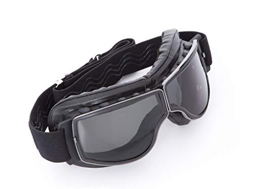 PI Wear Boston * Biker Brille mit Band * dunkel getönte Kunststoff Gläser * schwarzes echtes Leder * Handgenäht *