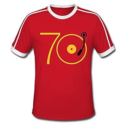 Musik der 70er Platte Retro Männer Retro-T-Shirt von Spreadshirt®, L, Rot/Weiß