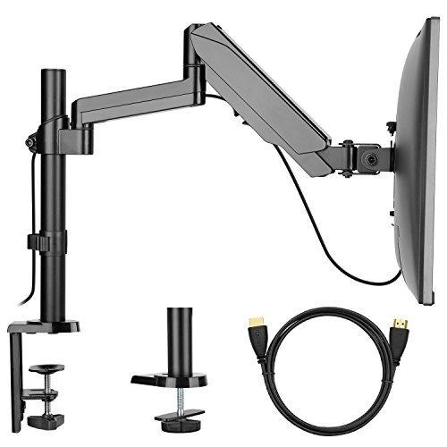 Monitorhalterung - Einstellbarer einarmiger Schreibtisch VESA-Halterung mit Klemme, Tülle Sockel, HDMI-Kabel für LCD-LED-Bildschirme bis zu 81 cm, Gasfeder, Gelenkarm hält bis zu 45 kg (Schreibtisch-monitor-sockel)