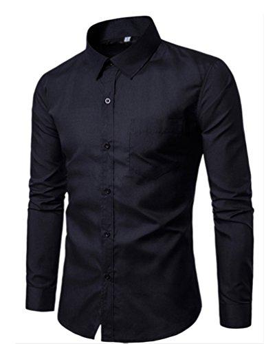 Chengyang uomo slim fit camicia manica lunga casual camicie camicetta business tinta unita shirts (nero, 2xl)