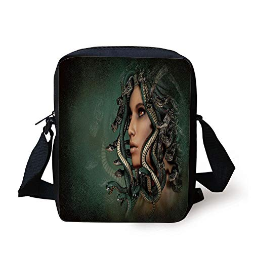 Mythological Decor,Spiritual Woman with Snakes on Her Head Sacred Occult Style Zen Design,Green Tan Print Kids Crossbody Messenger Bag Purse Snake-leather-tan