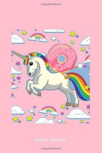Grid Journal - Unicorn Doughnut Rainbow Sky Cute Donut Magic Fantasy Gift - Pink Dotted Diary, Planner, Gratitude, Writing, Travel, Goal, Bullet Notebook - 6x9 120 page ()