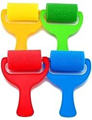 Bobury 4pcs Sponge Brush Paint Roller Enfant Artisanat Artisanat Outil de peinture (couleur aléatoire)