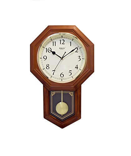 Rikon Wooden Finished Plastic Pendulum Wall Clock for Home Living Room Bed Room Office Color Brown Ivory