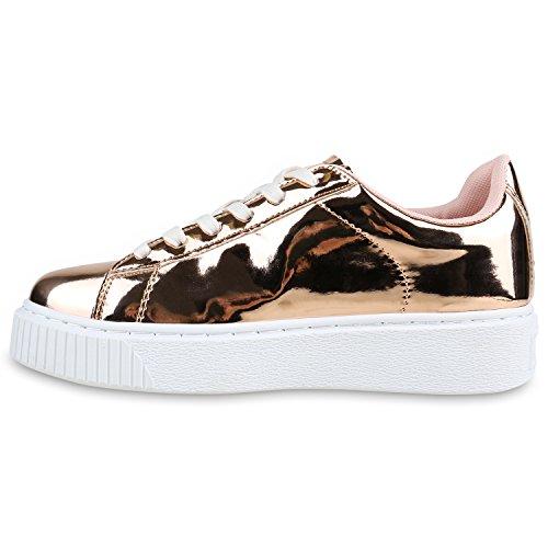 Plateau Sneakers   Damen Sneaker Low   Glitzer Metallic Schuhe   Sportschuhe Strass   Turnschuhe Lack Animal Print   Camouflage Rose Gold