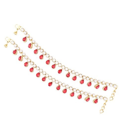 I Jewels Traditional Gold Plated Anklets Payal for Girls & Women A008R