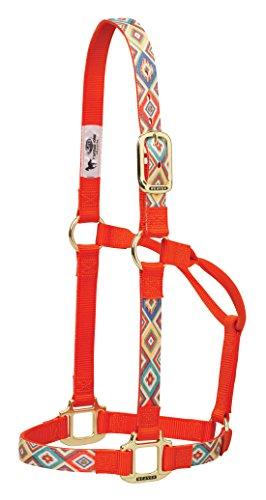 Weaver Leder Nylon Damast Festeingesteller Horse Halfter, Orange Navajo, S Horse