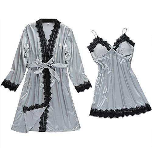 LHWY Frauen Sexy Satin Fashion Lace Nachtwäsche Sling Robe Langarm Set - Satin-vintage-robe