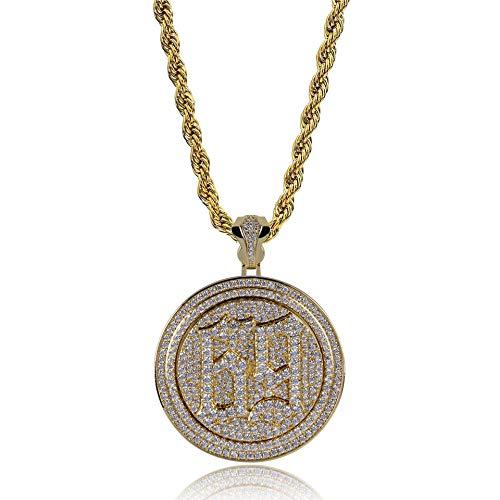 Qiulv Runden Hiphop Anhänger 18K Gold Überzogen Halskette Iced Out Bling Scheinen 69 Blase Brief Halskette Zirkon Inlay Kette Schmuck,Gold
