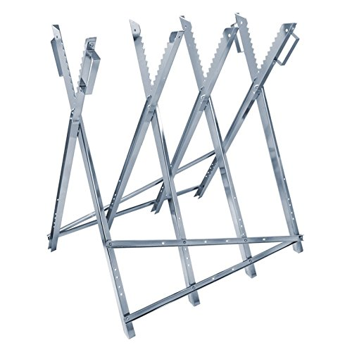 ECD Germany Metall Sägebock für Kettensäge 82 x 73,5 x 83,5 cm (LxBxH) 150 kg verzinkt Belastbarkeit klappbar und verstellbar mit Transportgriffen Sägegestell Holzsägebock Holzschneidebock Motorsäge