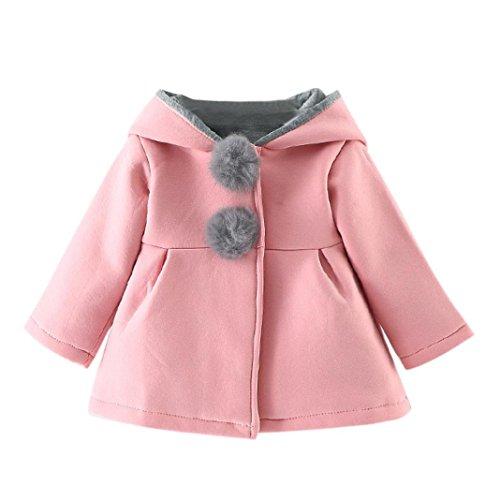 Hunpta Baby Kleinkind Mädchen Winter warmer Mantel Jacke Dicke warme Kleidung (85CM, Rosa)