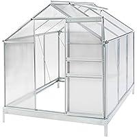 TecTake Serra da giardino in alluminio e policarbonato con finestra per piante orto casetta esterno - modelli differenti - (190x190x195cm con base | no. 401827)