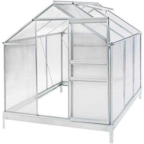 Galleria fotografica TecTake Serra da giardino in alluminio e policarbonato con finestra per piante orto casetta esterno - modelli differenti - (190x190x195cm con base | no. 401827)