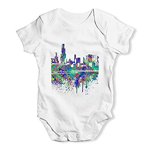 Twisted Envy Baby Unisex Chicago Skyline Ink Splats Cute Infant Bodysuit Baby Grow Baby Romper 12 - 18 Months
