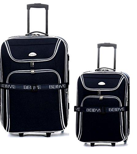 TOP-Angebot: 2 x Trolley-Koffer : Reisetrolley 76cm (110/125Liter) + Kabinentrolley 55 cm (45/50 Liter), - Dehnfalte - integr. Zahlenschloss - Farbe: Schwarz
