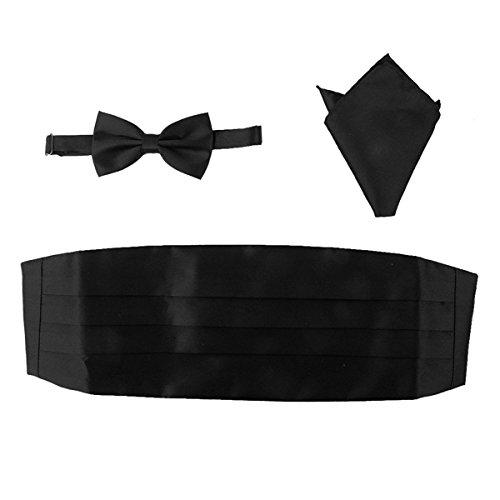 rosenice-uomini-raso-papillon-cummerbund-hanky-fazzoletto-set-3pcs-nero