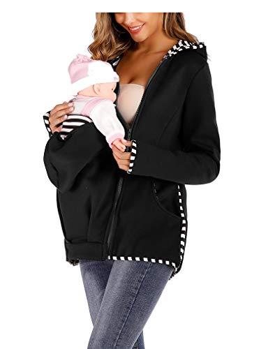 Mujer Canguro Lana Cerrar Encapuchado Camisa de Entrenamiento Maternidad Sudaderas con Capucha para portabebés Abrigo de Invierno,Negro,M